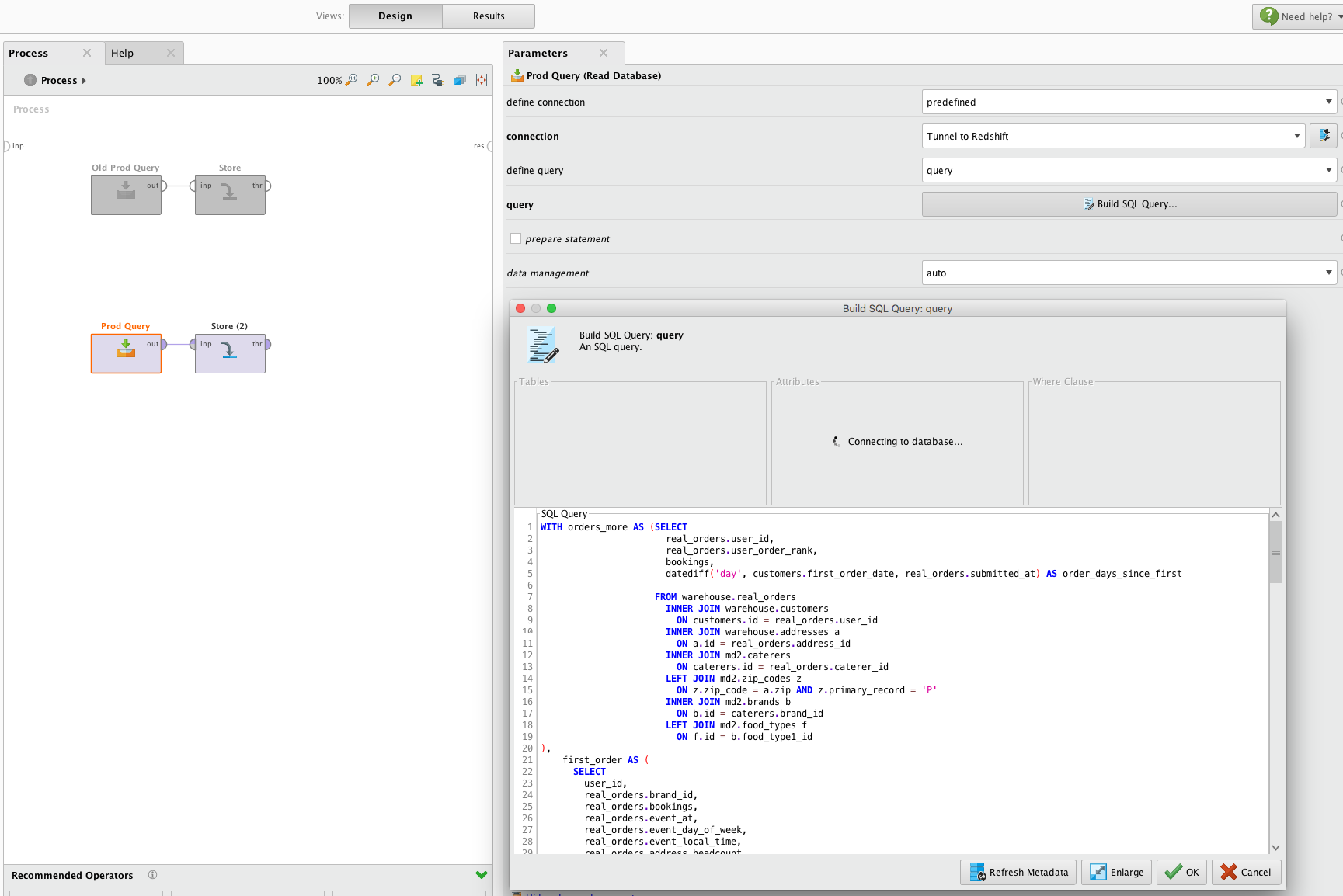 RapidMiner Connecting to Redshift