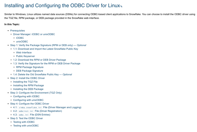 Lengthy list of steps for setting up ODBC on Linux